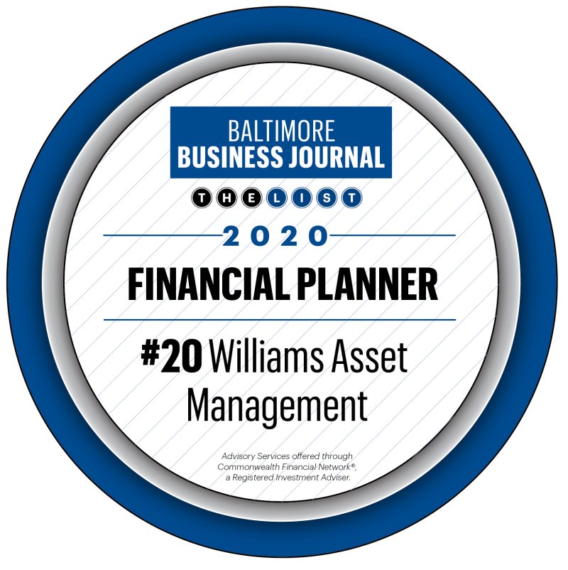 Baltimore Business journal Financial Planner award 2021